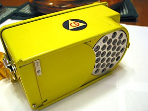 Civil defense Geiger counters - An example of the CDV-720 survey meter, turned upside down, showing the retractable beta shield.