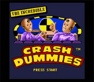 The Incredible Crash Dummies - Title screen of the original Super NES video game.