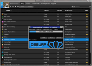 The Desura Linux client installing the game Dungeons of Dredmor