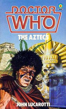 Book cover, featuring an Aztec in the foreground, and the TARDIS, a statue, and a pyramid in the background