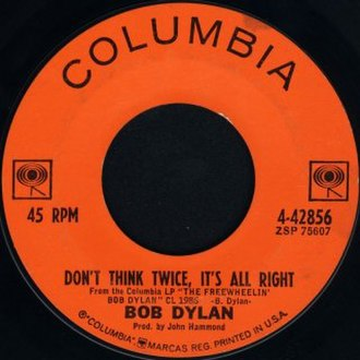 Don't Think Twice, It's All Right - Image: Don't Think Twice, It's All Right Dylan label