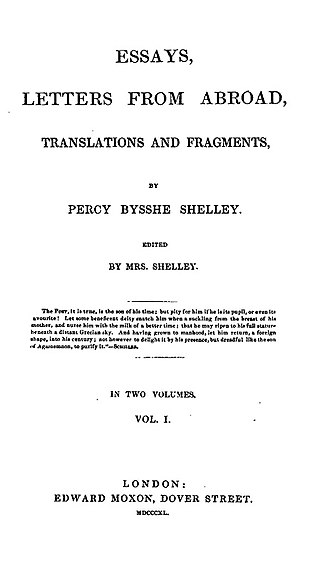 A Defence of Poetry - 1840 title page of Essays. Letters from Abroad, Translations and Fragments by Edward Moxon, London.