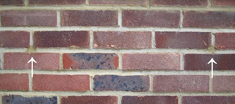 File:Filled holes from installation of cavity wall insulation.jpeg