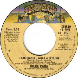 Flashdance... What a Feeling - Image: Flashdance... What a Feeling by Irene Cara U.S. vinyl 7 inch Side A