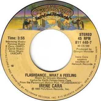 Flashdance... What a Feeling - Image: Flashdance... What a Feeling by Irene Cara U.S. vinyl 7 inch Side A