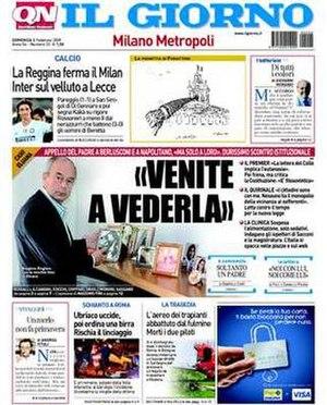 Il Giorno (newspaper) - Image: Frontpage Il Giorno
