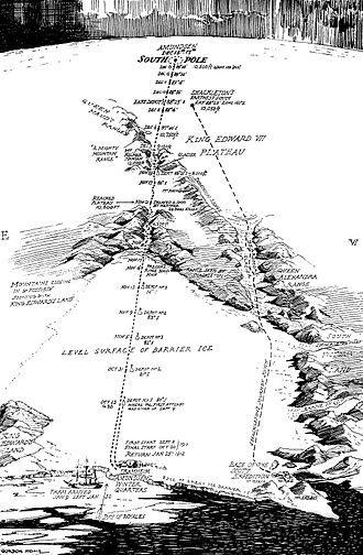 Amundsen's route to the pole, Oct-Dec 1911. The depots marked at 80, 81 and 82deg were laid in the first season, Feb-March 1911. Shackleton's 1908-09 route, as followed by Scott, is to the right. Gordon Home's Map of Amundsen's South Pole Expedition.jpg
