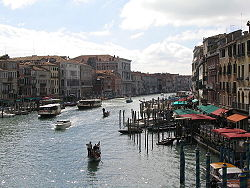 The Grand Canal in Venice, Italy, shot southwards from Rialto Bridge.