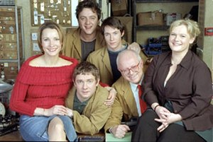 Hardware (TV series) - The main cast of Hardware, from left to right: Susan Earl as Anne, Peter Serafinowicz as Kenny, Martin Freeman as Mike, Ryan Cartwright as Steve, Ken Morley as Rex, and Ella Kenion as Julie