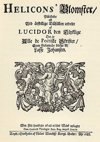 """Lucidor - The front page of """"Helicons blomster"""", the posthumous collection of poems by the poet Lucidor, published in 1688."""