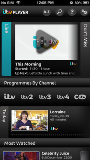 ITV Hub - ITV Player as displayed on iOS