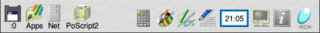 Screenshot of the icon bar under RISC OS 5 showing the following: Left portion, from left – Discs (in this case a single USB flash drive via SCSIFS), Apps folder (Resources:$.Apps), OmniClient (Network Filer), Printers, Right portion, from right – Task Manager, Help, Display Manager, Alarm, Edit, Draw, Paint, SciCalc
