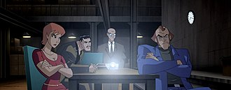 Suicide Squad - The Suicide Squad in the animated series, Justice League Unlimited. From left to right: Plastique, Deadshot, Clock King, and Captain Boomerang.