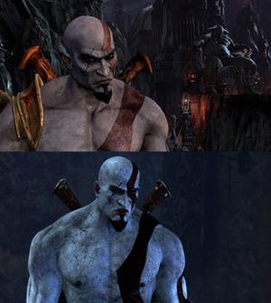 God of War: Ascension - Comparison of Kratos as he appears in God of War III (top) and Ascension (bottom). Increasing the UV sets gave Kratos a more realistic appearance in Ascension.