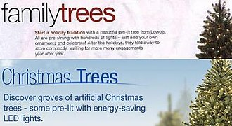 "Christmas controversies - In 2007, U.S. hardware store chain Lowe's published a catalog that accidentally referred to Christmas trees as ""Family trees"""