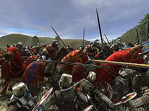 Medieval II: Total War - A group of English knights attacking French dismounted feudal knights.