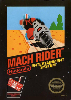 Front cover of the North American Mach Rider NES package.