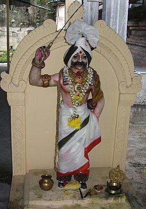 Madurai Veeran - Statue of Madurai Veeran at the Sri Maha Muneeswarar Temple, Brickfields, Kuala Lumpur