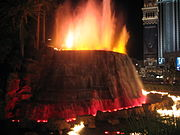 The volcano attraction at night