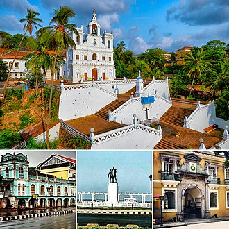 Panaji - Anticlockwise from the Top: 1. Igreja da Nossa Senhora da Imaculada Conceição  2. Typical Portuguese influenced architecture. 3. Statue of Hindu-Christian Unity 4. Entrance to the Goa Police HQ