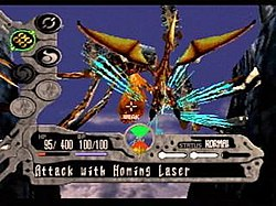 A screenshot of Edge and his dragon battling a large creature