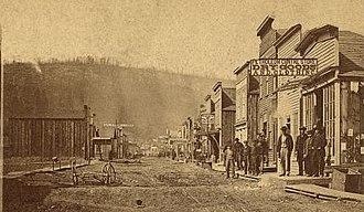 Petroleum Center, Pennsylvania - Main Street, Petroleum Center, in the 1800s.