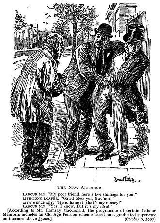 Income tax - Punch cartoon (1907); illustrates the unpopularity amongst Punch readers of a proposed 1907 income tax by the Labour Party in the United Kingdom.