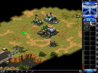 "Command & Conquer: Red Alert 2 - A small Allied base at the beginning of a game. The player is preparing to place a ""Pillbox"" defensive structure."