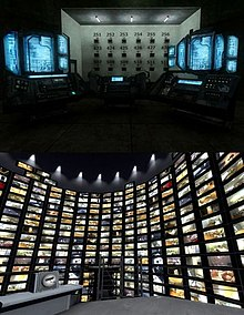 Two images stacked on top of each other. The top is a dimly lit, dark room with a few futuristic-looking computer monitors. In the background, there is a panel of square televisions with numbers above them. In the bottom image, the player is standing in a much brighter room, on a grey platform. Flat-screen televisions line the circular walls, each showing a different perspective of the office.