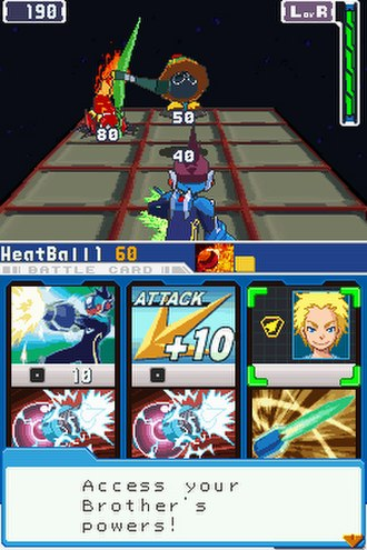 Mega Man Star Force - A screenshot of a typical battle sequence.