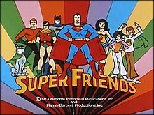 Frame taken from the title sequence of Super Friends with the show's title at the bottom of the screen. This acts as a shelf on which the characters from the show are standing. From left to right the characters are: Wonder Dog, Aquaman, Robin, Batman, Superman, Wonder Woman, Wendy, and Marvin.