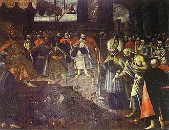 Stanislaus of Szczepanów - Saint Stanisław leads Piotr before the royal tribunal