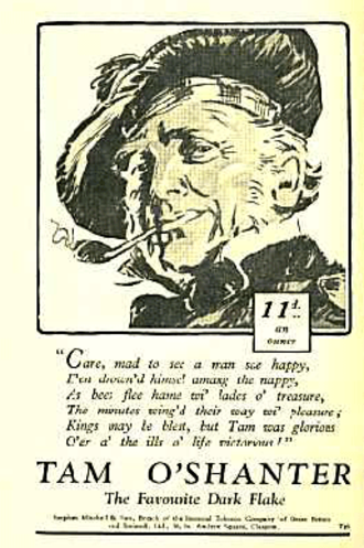 Tam o' Shanter (poem) - Early 20th-century tobacco advert using an image of Tam