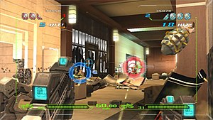 Time Crisis: Razing Storm - Two-player cooperative gameplay in Time Crisis: Razing Storm, with on-screen reticles