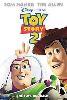 "Film poster showing Woody flashing a V sign on top of Buzz Lightyear's head. Above them is the film's title below the names of Tom Hanks and Tim Allen. Below is shown ""The toys are back!"" in all capitals above the production details."