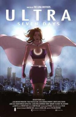 Ultra fills the foreground with her cape billowing behind her. The Spring City skyline is in the background along the lower half of the picture. The text on the image is styled after a movie poster.