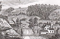 """""""West view of Hitchcocksville, Barkhamsted"""" by John Warner Barber, 1830s"""
