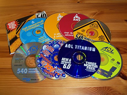 Some promotional CD-ROMs distributed in Canada. AOL promotional CDs in Canada.jpg