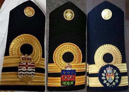 Royal Canadian Navy shoulder boards worn by honorary aides-de-camp to the lieutenant governors of British Columbia (left) Quebec (centre) and New Brunswick (right) Aide de camp insignia to Canadian Lieutenant Governors.jpg