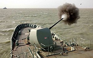 Australian contribution to the 2003 invasion of Iraq - HMAS Anzac firing on Iraqi positions and troop concentrations in Um-Qasr, 2003