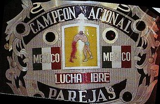 Mexican National Tag Team Championship - Close up of the front plate of one of the championship belts
