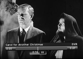 A Carol for Another Christmas - Screenshot with the ghost of Christmas future, Sterling Hayden and Robert Shaw