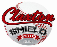 "A graphic of a baseball with the text ""Claxton Shield 2010 Est. 1934"" superimposed."