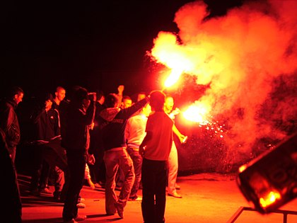 Croatian supporters have traditionally used flares to celebrate the team's victories, though the use of pyrotechnics has become increasingly controversial due to sanctions imposed by FIFA and UEFA. Cro-Ger 2-0.jpg