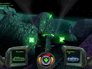 Descent 3 - The player, piloting a ship from a first-person perspective, shoots enemies with the Plasma Cannon. The left frame depicts the currently selected primary weapon, the middle panel shows the ship's status, and the right frame displays the currently selected secondary weapon.
