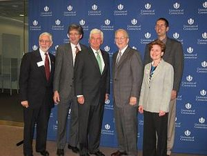 Center for Justice and Accountability - Senator Christopher Dodd and Thomas Wilsted, Director of the Thomas J. Dodd Research Center with CJA board and staff members.