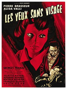 Movie poster tinted red. It depicts Christiane Génessier's head wearing her mask staring away. In the bottom right corner, Doctor Génessier is suffocating a female victim. Text at the top of the image includes the two leads and the film's title. Text at the bottom left of the poster reveals further production credits.