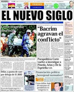 El Nuevo Siglo - Image: Front page El Nuevo Siglo, 15 April 2011