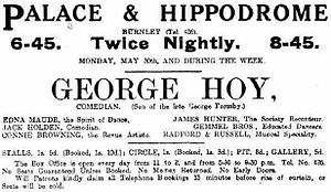 George Formby - An advertisement from The Burnley News, May 1921 for George Hoy