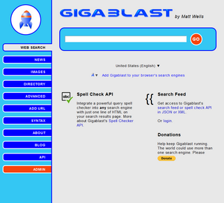 Gigablast screenshot